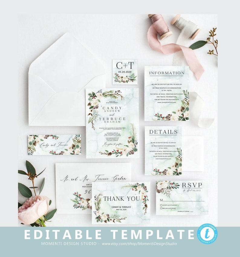 Christmas Wedding Invitation Template Winter Printable Holiday RSVP Postcard CR18