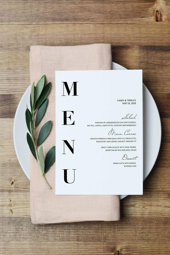 Wedding Menu Template Modern Menu cards Template Minimal  Etsy