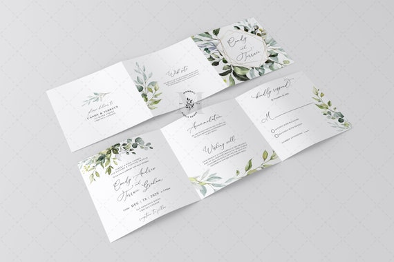 Tri Fold Wedding Invitation Template Greenery Wedding Etsy