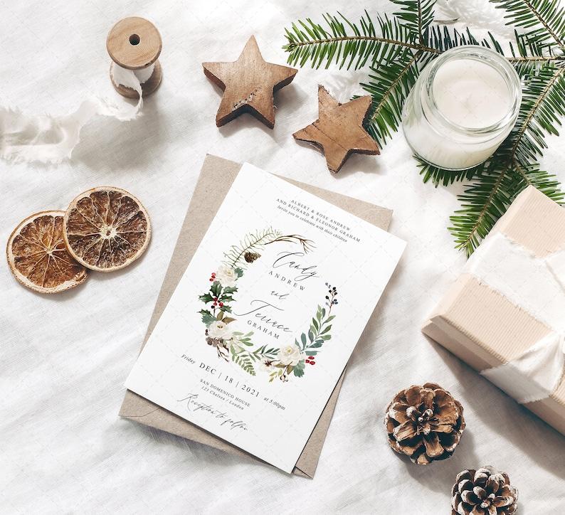 Christmas Wedding Invitation Template Winter Wedding Invitation Printable INSTANT DOWNLOAD CR18 Holiday RSVP postcard Holiday Invitation