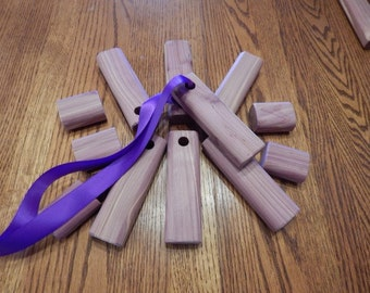 24 Aromatic Eastern Red Cedar scent blocks for hanging in closets or to place in drawers, shoes, etc.