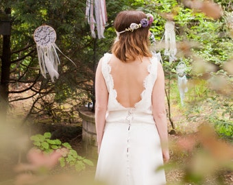 Wedding dress, silk and French lace. Bohemian style