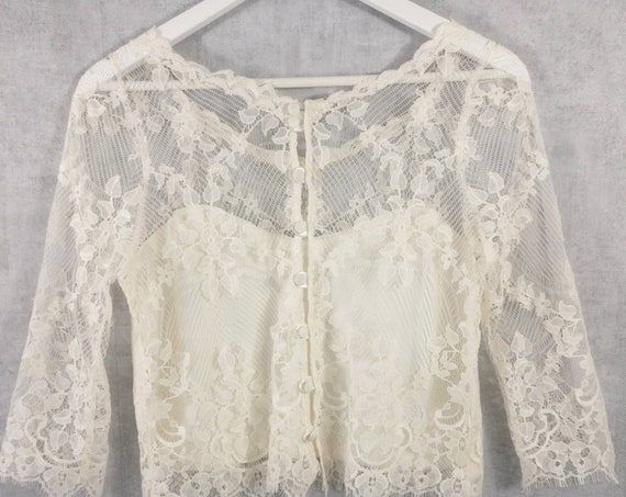 PROMOTION Ivory Calais lace top, 3/4 SIZE 36 sleeves