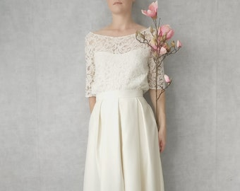 BIANCA // Short sleeves dress with lace top 3/4 sleeves, high waist, 50's silk pleated skirt, made to measure