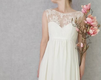 CECILIA / / empire waist wedding dress silk and lace Halter. Strapless silk, flowing skirt with train. Romantic dress