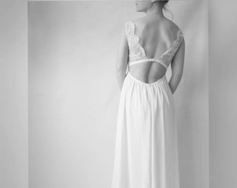 Cecilia / empire waist wedding dress silk and lace Halter. Strapless silk, flowing skirt with train. Romantic dress