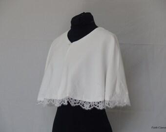 White wedding Cape, lace, wedding, Bridal stole accessory