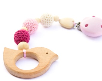 Wooden stroller toy - wooden teether - car seat toy - baby gift - natural baby toy - clip toy - stroller toy - wooden toy pendant