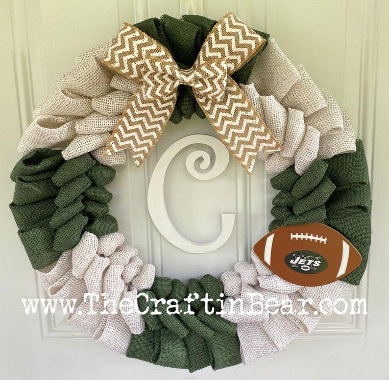 Large Burlap Wreath New York Jets Wreath Football Wreath
