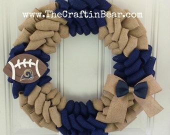 LA Rams burlap wreath - Rams wreath - Rams burlap wreath - Los Angeles Rams - L.A. Rams - LA Rams decor - Rams decor