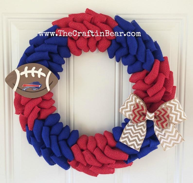 ba78ad97 Buffalo Bills burlap wreath w/ chevron bow and wooden football - Buffalo  Bills wreath - Bills - Buffalo Bills decor - Buffalo Bills chevron