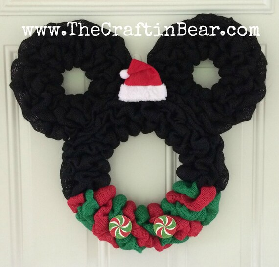 Couronne Noel Disney.Christmas Mickey Mouse Wreath Burlap Wreath Santa Mickey Disney Christmas Wreath Christmas Mickey Christmas Mickey Decor