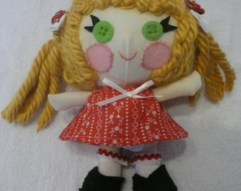 Small Rag Doll,  Small Fabric Doll, Lalaloopsy Inspired Doll, Valentine Doll, Little Sister Doll, Dress Up Doll, Valentine Gift