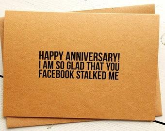 Funny Anniversary Card - Funny Husband Card - Funny Love Cards - Boyfriend Card - Girlfriend Card - Handmade Card - Facebook Card