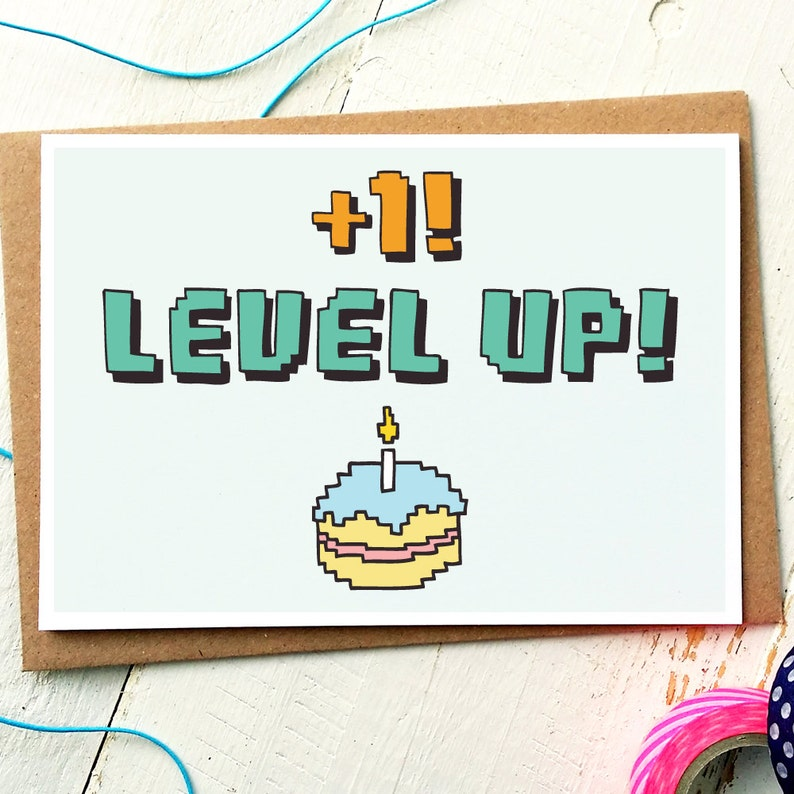 Funny Birthday Card Level Up Gamer Geek