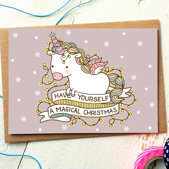 Funny christmas card unicorn card funny holiday card etsy image 0 m4hsunfo