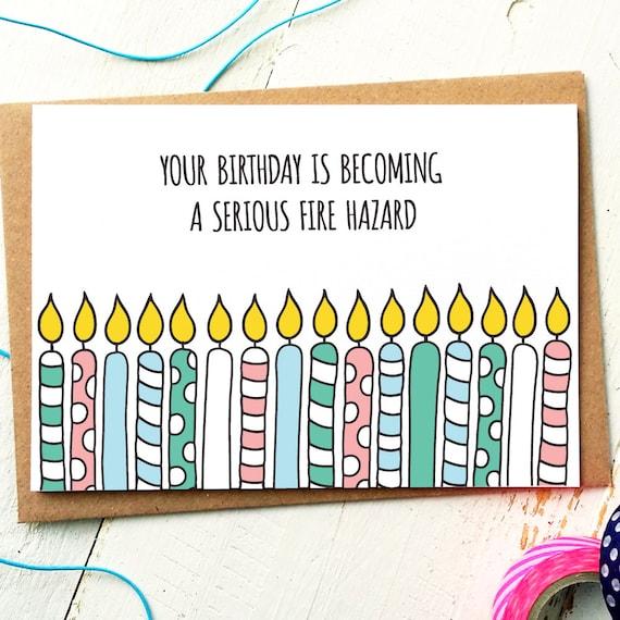 Funny Birthday Card Friend Fireman