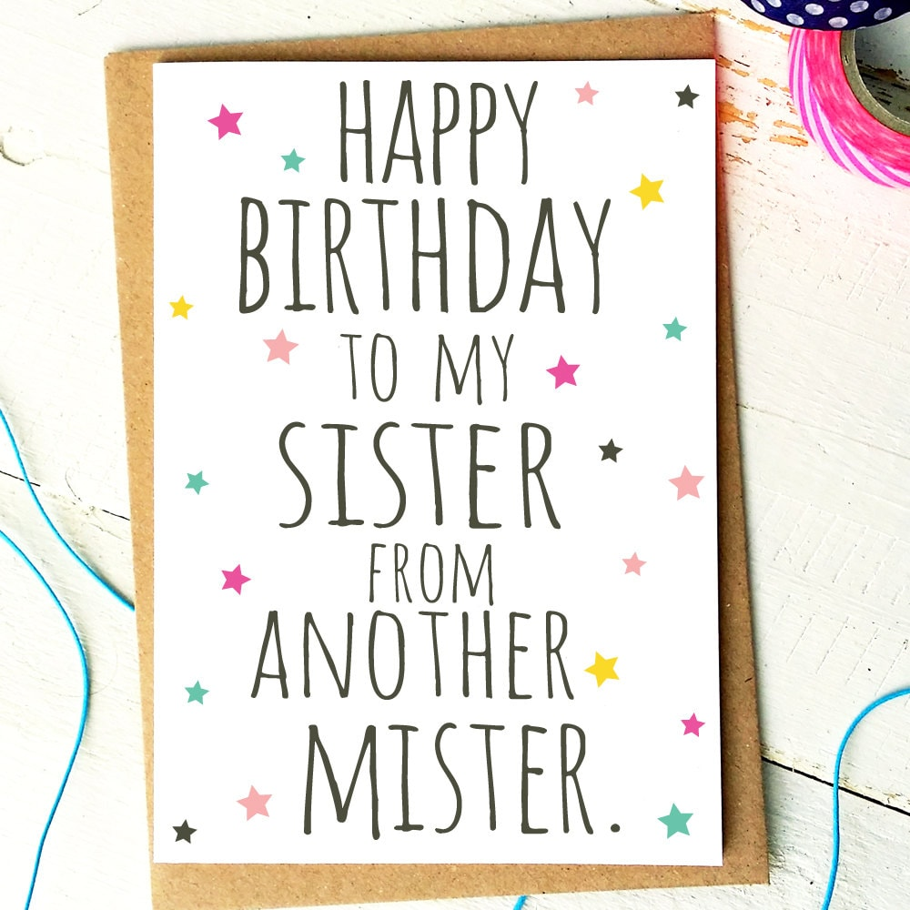 Best Friend Card Funny Birthday Card Sister From Another Etsy