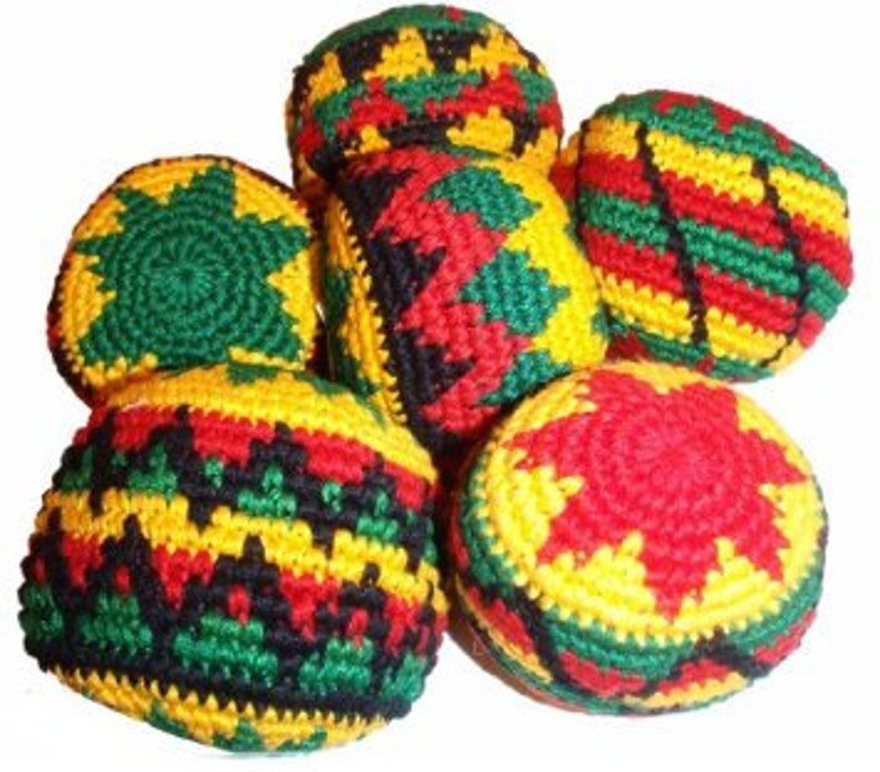 Hand Made Crochet Rasta Color Hacky Sacks 6 Pack Set Etsy