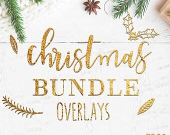 MEGA BUNDLE  Merry Christmas Overlay, christmas word overlays, christmas ornaments 432 item- wp043