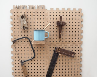 Peg Board - Tidy For Dad's Shed - wooden pegboard - personalised peg board - pegboard organiser- pegboard display - shed tidy - display unit