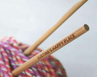 Happy Place Crochet Hook - Personalised crochet hook - yarn hook - knitting crochet - gift for yarn addict - gift for mum - yarny