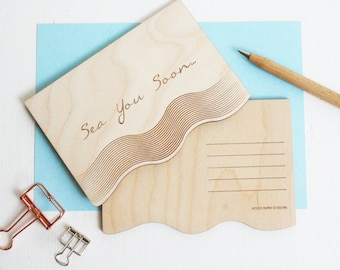 Wooden Postcard  - travel postcard - seaside wooden card - laser engraved card - sea themed card - coastal living - thinking of you cards