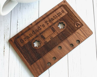 Cassette Tape Coaster - Retro Drinks Coaster - personalised wood mat - walnut wood drinks coaster - Five year anniversary - Valentine's Gift