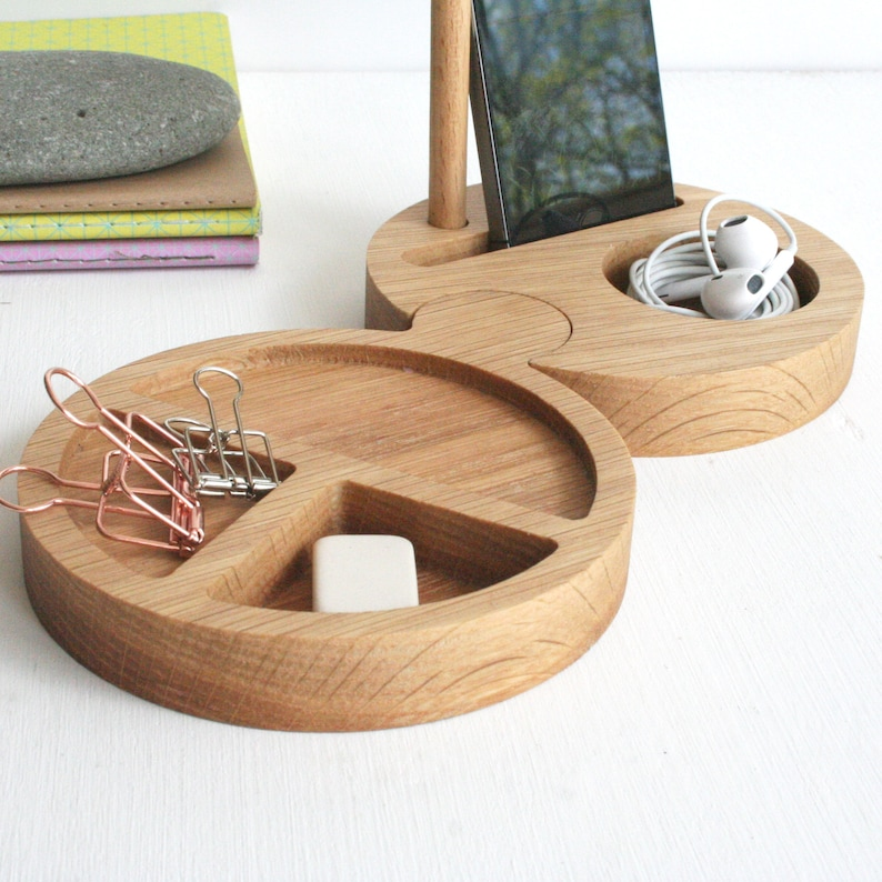 Oak Wooden Round Modular Desk Tidy and Phone stand image 0