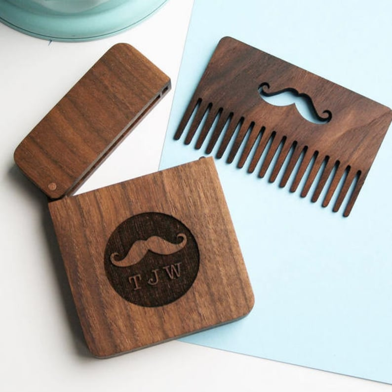 Personalised wooden beard comb  gift set image 0