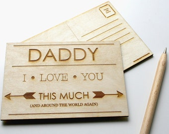 Fathers Day Card - Daddy Card - I Love you this much - wooden postcard - engraved postcard -  Card for dad from child - fathers day postcard