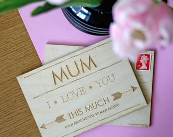 Custom engraved card for Mum - Across the miles card - I love you this much - Personalised Mummy Card - Engraved card for Mums - custom card