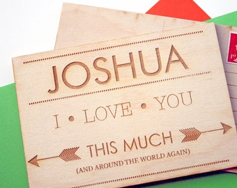Wooden postcard - 5 year anniversary -  personalised birthday card - I love you this much - engraved card - across the miles - keepsake card