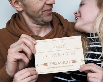 Personalised Father's Day Card - Handwriting card for Dads - Wooden Daddy Card - Engraved Fathers Day Card - Card from Child to Daddy