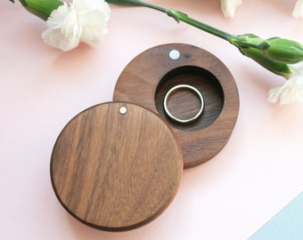 Wooden ring box - Wedding Ring Box - Wood Ring Holder - Ring Bearer - handcrafted wooden box with lid - rustic wedding box - wedding gift