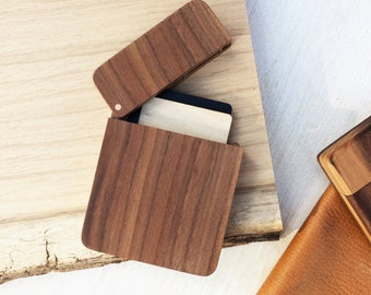 Wooden card holder - hipster mens cardholder - rustic card holder - wooden box with lid - Valentine's Gift - five year anniversary gift men