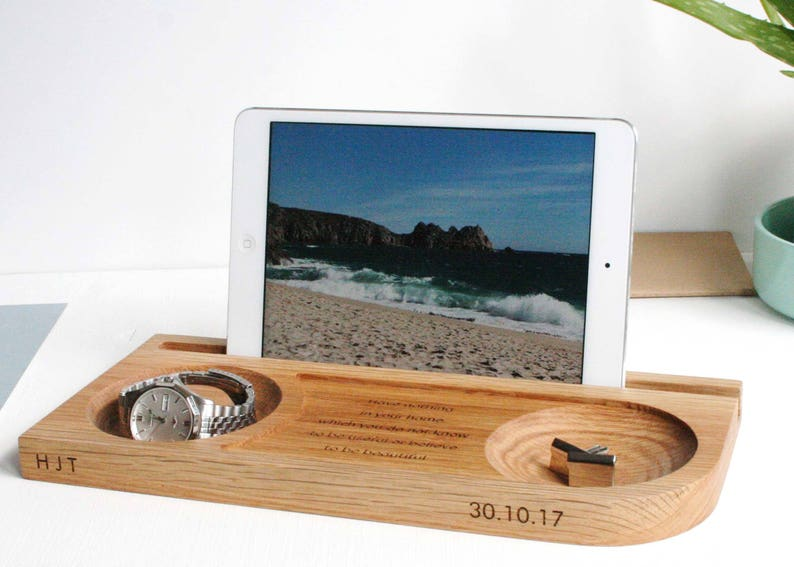 Wood Watch Tablet Phone And Cufflinks Oak Stand  Desk Tidy image 0