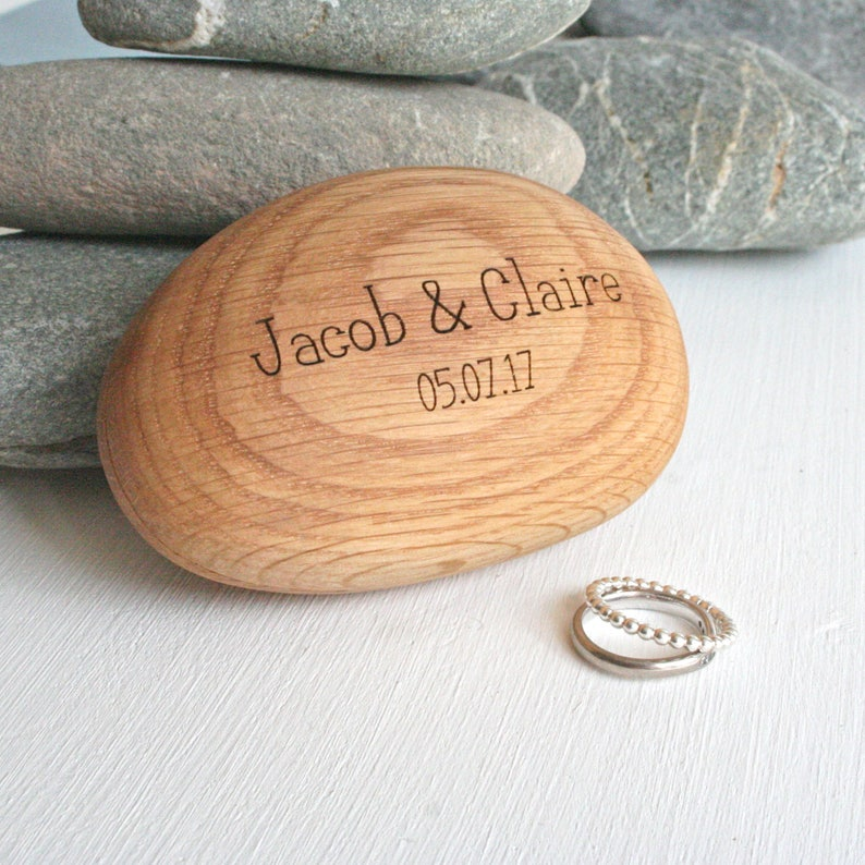 Personalised Wooden pebble wedding ring box image 0