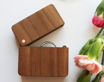 Wooden ring box - Engagement Ring Box Wedding - Walnut Ring Holder - Ring Bearer - wood box with lid - rustic wedding box with hinged lid