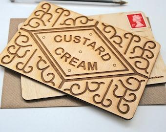 Custard creams - Card for Biscuiteers - Custard Cream biscuit card - engraved wooden postcard - wood card - biscuit card - keepsake card