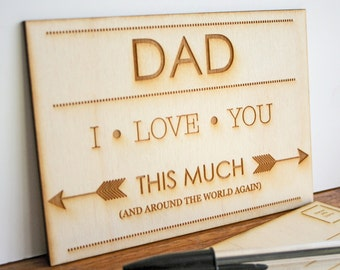 Fathers day  - Custom engraved postcard - I love you this much - Personalised Dad Card -  Across the miles card - Engraved postcard for Dad