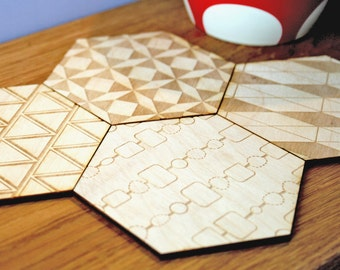Set Of Four Hexagon Patchwork Wooden Coasters