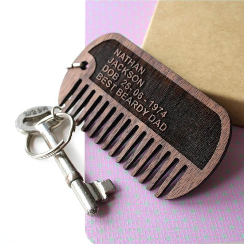 Custom wooden beard comb keychain image 0