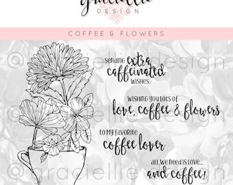 Coffee & Flowers Digital Stamp Set