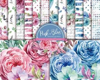 Pink & Blue Watercolored Digital Papers