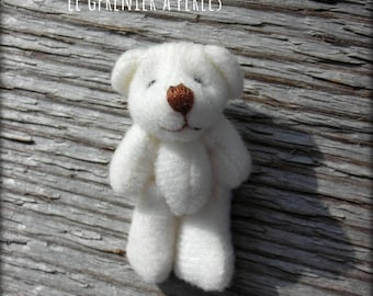 Teddy bear plush white 4 x 2 cm