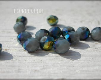 Abacus 6 mm AB iridescent grey beads X 20