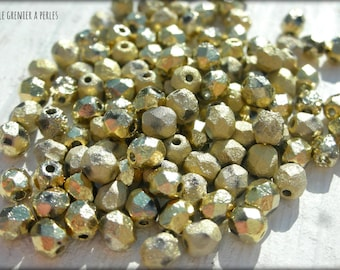 Faceted 4 mm etched crystal AMBER FULL (26480) X 50