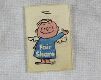 UNITED WAY Fair Share Lenticular Flicker Flasher Square - Vari-Vue - 1950s Angel Donation Winky - Advertising Promo Charity