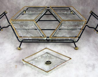 "Mid Century Snack Server - Wrought Iron with pressed glass trays - By GAILSTYN It's A DiLLy - Gorgeous 19"" long Barware"